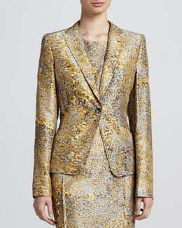 Escada Leopard-Print One-Button Jacket, Anthracite