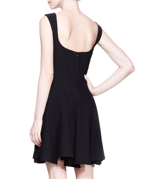 Square-Neck Full-Skirt Dress, Black