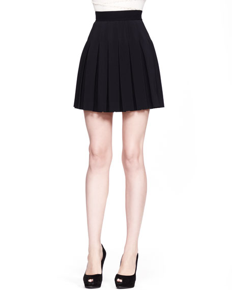 High-Waist Pleated Skirt, Black