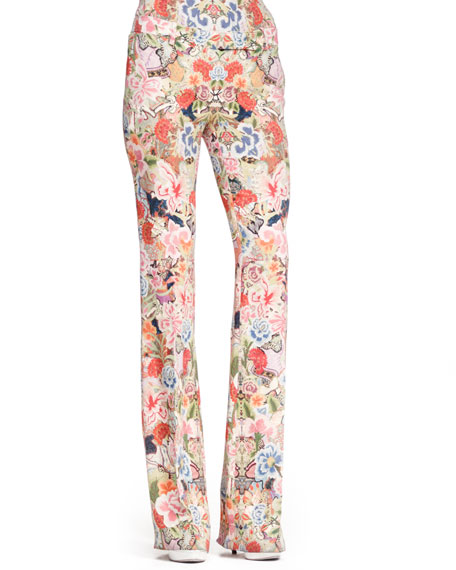 Tabbed Floral-Print Pants, Pink/Multi