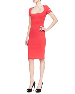 Alexander McQueen Neoprene Square-Neck Dress
