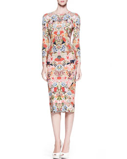 Alexander McQueen Floral-Print Jersey Sheath Dress, Pink/Multi