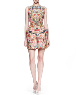 Alexander McQueen Patch-Pocket Floral Dress, Pink/Multi