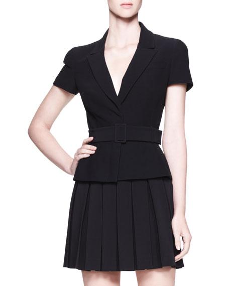 Belted Short-Sleeve Jacket, Black