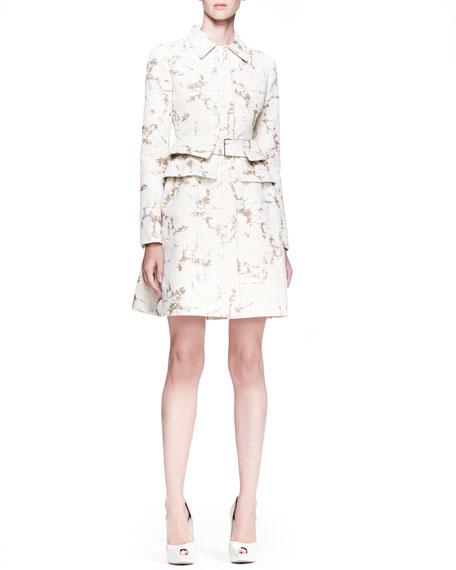 Pleated-Back Coat Dress, Cream/Sand