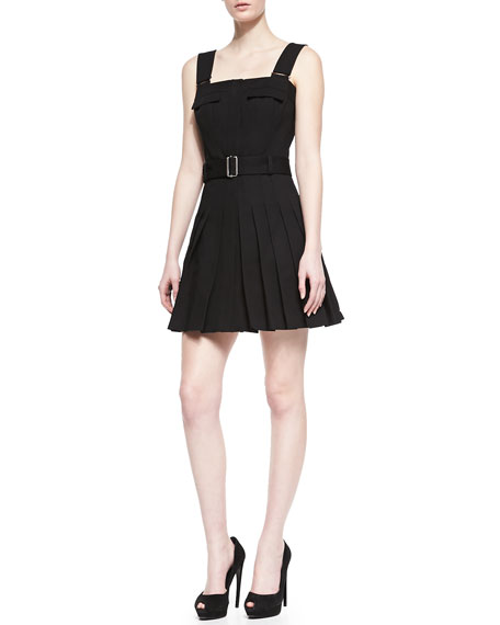 Belted Square-Neck Pleated Dress
