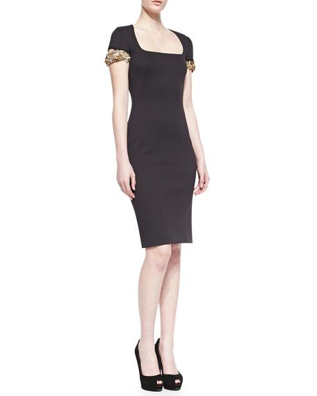 Embellished-Cuff Scuba Sheath Dress