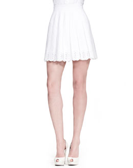 Alexander McQueen Pleated Sangallo Lace Skirt, White