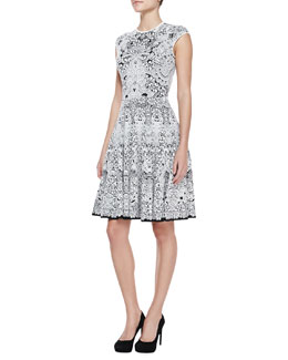 Alexander McQueen Lacy Full-Skirted Knee-Length Cap-Sleeve Dress, Black/White