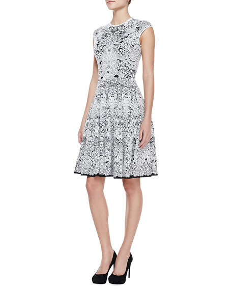 Lacy Full-Skirted Knee-Length Cap-Sleeve Dress, Black/White