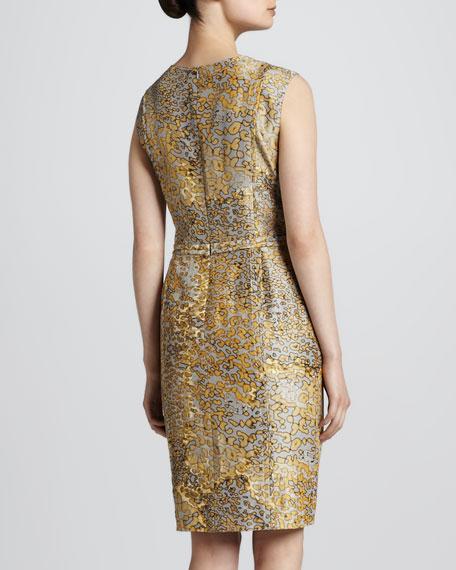 Leopard-Print Sheath Dress, Anthracite