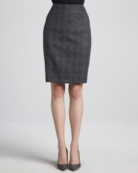 Cutout-Flannel Pencil Skirt, Anthracite