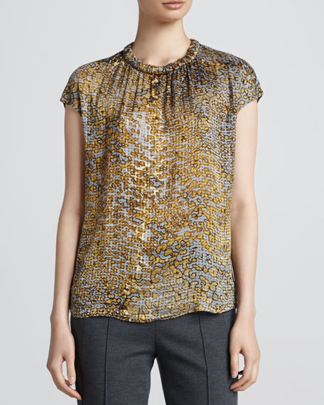 Leopard Cap-Sleeve Blouse, Anthracite