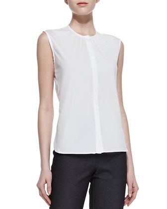Sleeveless Poplin Top, White