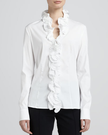 Ruffle-Front Poplin Blouse, White