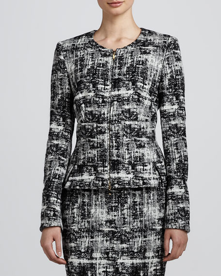 Scribble Tweed Jacket, Black/White