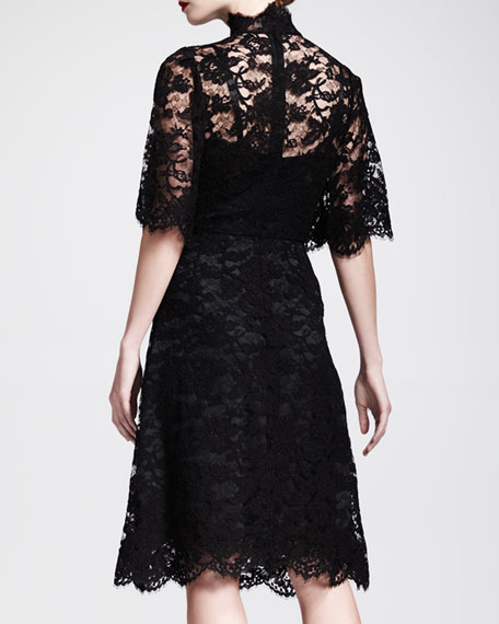 Flutter-Sleeve Button-Front Lace Dress