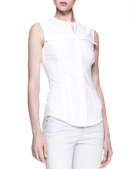 Fitted Sleeveless Poplin Blouse, White
