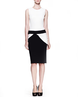 Alexander McQueen Drape-Waist Bicolor Dress, White/Black