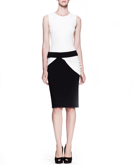 Drape-Waist Bicolor Dress, White/Black