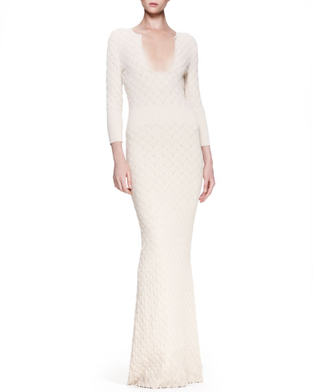 Ribbed Leaf Knit Gown, Cream