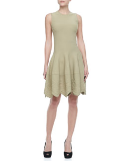 Alexander McQueen Sleeveless Embossed-Hem Dress