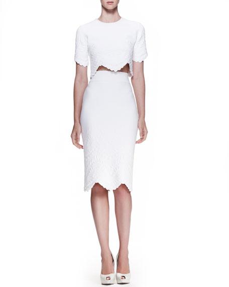 High-Waist Embossed Pencil Skirt, White