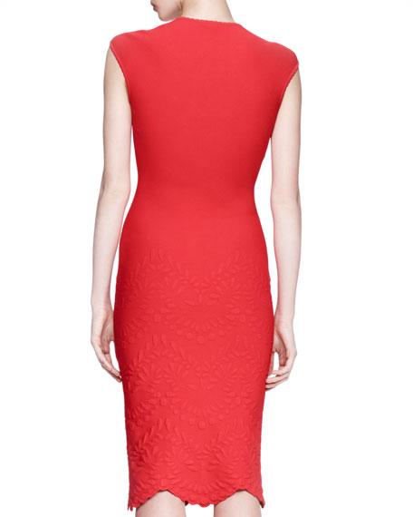 Embossed Cap-Sleeve Dress, Red