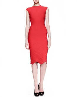 Alexander McQueen Embossed Cap-Sleeve Dress, Red