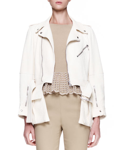 High-Low-Hem Leather Biker Jacket, Cream