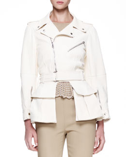 Alexander McQueen High-Low-Hem Leather Biker Jacket, Cream
