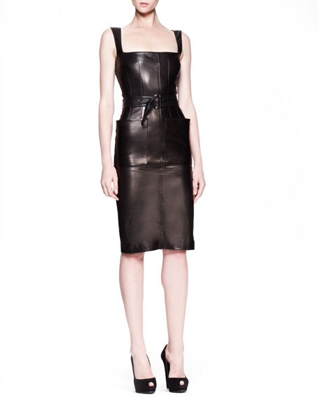 Self-Belted Leather Sheath Dress, Black