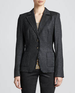 Escada Ruffle-Lapel Jacket, Anthracite