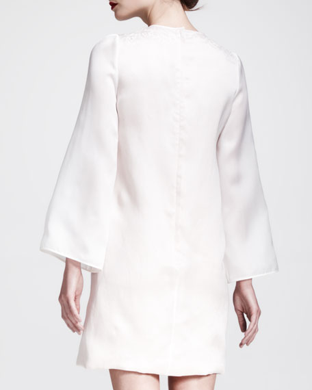 Long-Sleeve Guipure-Front Dress, White