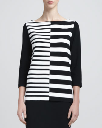 Asymmetric-Striped Bateau Neck Tunic, Caviar/White