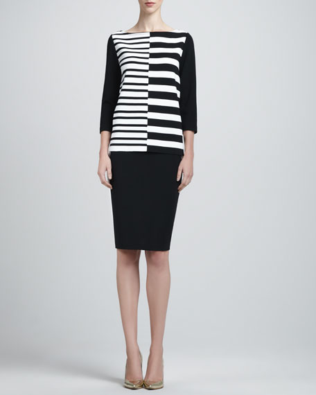 Side-Striped Pencil Skirt, Black/White