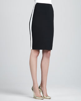 St. John Collection Side-Striped Pencil Skirt, Black/White