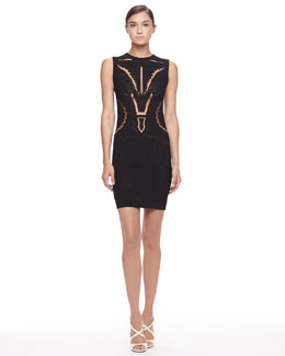 Roberto Cavalli Knit Cutout Sheath Dress, Black