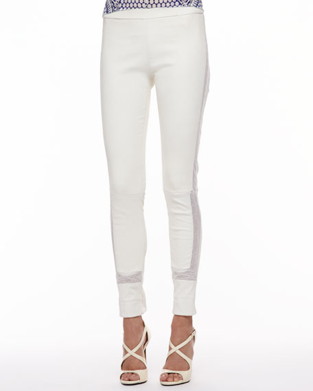 Lace-Trim Leather Leggings, Milk