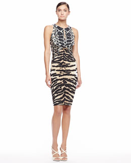 Roberto Cavalli Mixed Animal-Print Sheath Dress