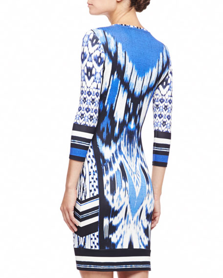 3/4-Sleeve Ikat-Print Jersey Dress, Blue