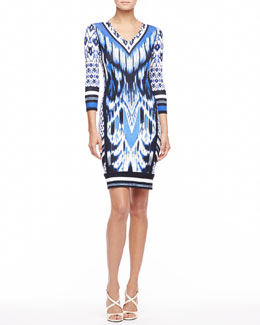 Roberto Cavalli 3/4-Sleeve Ikat-Print Jersey Dress, Blue