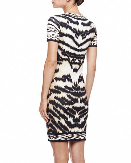 Tiger-Print T-Shirtdress, Beige/Black