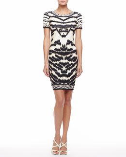 Roberto Cavalli Tiger-Print T-Shirtdress, Beige/Black