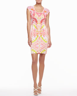 Roberto Cavalli Cap-Sleeve Scoop-Neck Printed Dress, Pink/Neon
