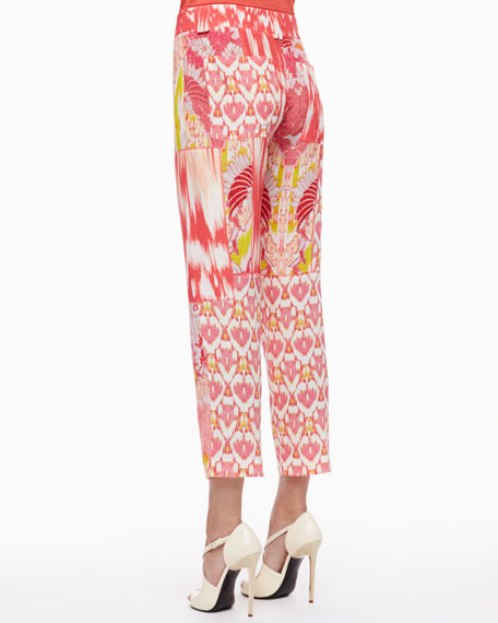 Mixed-Print Pants, Coral/Multicolor