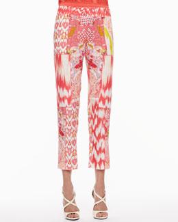 Roberto Cavalli Mixed-Print Pants, Coral/Multicolor