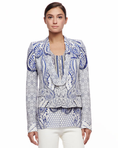 Printed Blazer, Blue
