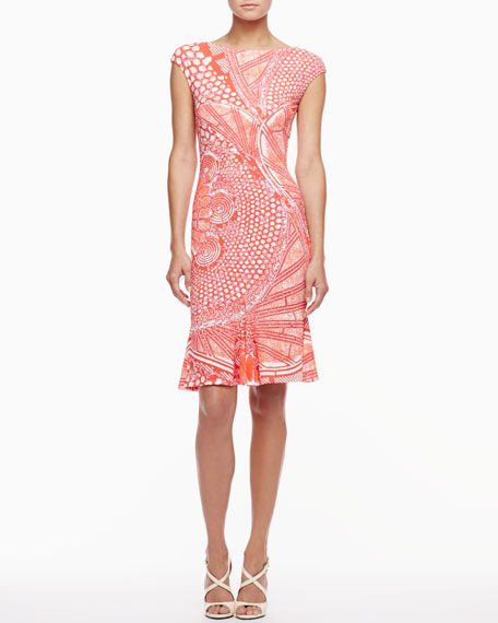 Printed Jersey Cap-Sleeve Godet Dress, Coral