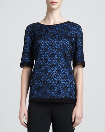 Floral Lace Jewel-Neck Top, Caviar/Blue